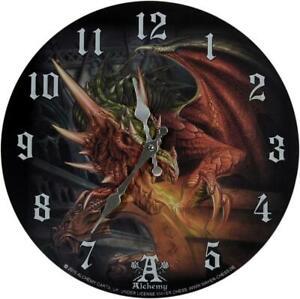 ALCHEMY GOTHIC - DRACO BASILIKA WALL CLOCK 34cm ORNAMENT DRAGON