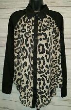Umgee USA Black Leopard Print Sheer Button Down Blouse Sz M #1389