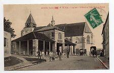 AUXON Aube CPA 10 l'église vue animée hotel de ville, halle, carioles, église