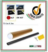 Pellicola Omologata ABG Oscurante 1% Vetri Fumé Auto Nero 75cm x 300cm