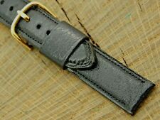 Mormac Vintage Black Calfskin Watch Band w Gold Tone Buckle NOS Unused 16mm Mens
