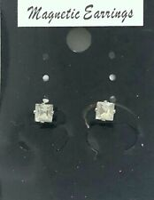 4mm CLIP ON MAGNETIC CZ STONE SQUARE EARRING UNISEX NEW