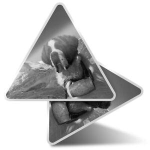 2 x Triangle Stickers  10cm - BW - St Bernard Dog Rescue Puppy  #38115