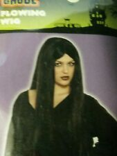 NEW Adult Women's Long Flowing Black Wig Witch  - FREE SHIP