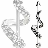 Tentacle Wrap Industrial Barbell 316L Surgical Steel