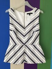 Portmans Blouse 6 White Navy Blue Stripe Dress Shirt Sleeveless top Work peplum