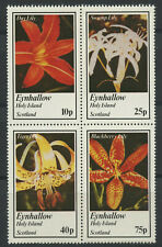 Lilies Flowers se-tenant block of 4 mnh stamps Eynhallow Scotland (Local Issue)