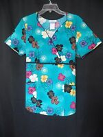 SB Scrubs Women Sz Medium Turquoise Floral Faux Wrap Scrub Top Tie Back