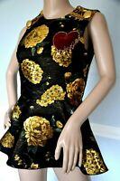$2,075 Dolce & Gabbana Embellished Embroidered Dress Brocade Top US 4 6  IT 42