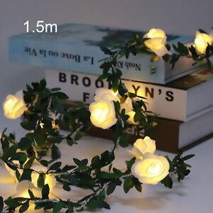 1.5M 10LED Rose Flower Led  Fairy String Lights Xmas Garden Party Home Decor