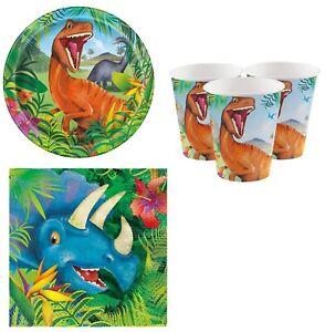 32pc Boys Girls Dinosaur Prehistoric Animal Birthday Party Tableware Set