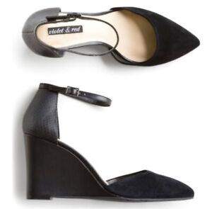 Violet & Red brand Size 8M Avelino Leather dress shoes Black Velvet New