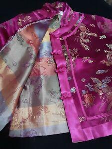 Vtg. Oriental Brocade Mandarin CHILD'S  purple/pink Pajama Set sz 8 Dragons