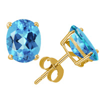 Swiss Blue Topaz Oval Stud Earrings 14K Yellow or White Gold