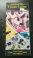 Vintage 1990 3-Dimensional Map of Tysons Corner Virginia;  Color Zoned 1st Ed