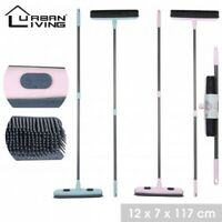 Rubber Broom Indoor Rubber Bristle Soft Sweeping Brush with Extending Handle