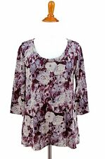 URBAN OUTFITTERS Sweater M Top Purple Floral STARING AT STARS Slubbed Trapeze