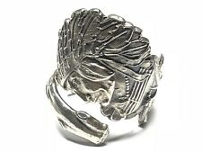 Vintage Unisex Native American Sterling Silver Indian Chief Ring - Size 10.25