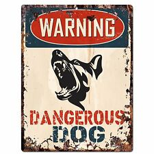 PP2344 WARNING DANGEROUS DOG Plate Sign Rustic Chic Sign Home Door Gate Decor