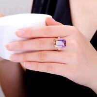 Fashion Women 18K Rose Gold Filled Amethyst Morgan Stone Ring Wedding Engagement