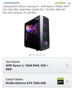 CyberpowerPC Wyvern Gaming PC - AMD Ryzen 5 3400G Nvidia GTX 1650 4GB 16GB RAM