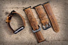 Brown Bull Leather Watch Strap Band for Apple Watch Series 1 2 3 38mm Black Fix