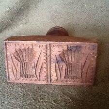 Wooden Mold Wheat Pattern Double Wheat With Handle Press 5-1/2 in Tall -Vin USA