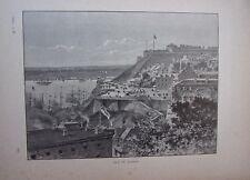 GRAVURE SUR BOIS VERS 1890 VUE De QUEBEC CANADA