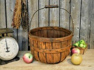 Antique Old New England Apple Harvest Basket w/ Bail Handle Patina AAFA
