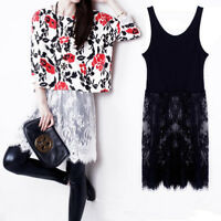 Women Extender Long Tank Slip Top Dress Extender Lace Trim Layer Lace Dress