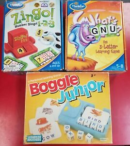 Thinkfun Lot What's Gnu?-Zingo Numbers-Boggle Junior Complete Educational Games