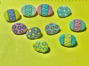Easter Painted Eggs Plastic Buttons/Sewing craft supplies/Doll making/Cake decor