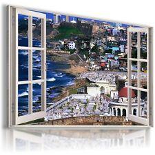 GREECE SEA 3D Window View Canvas Wall Art Picture  W83 MATAGA .