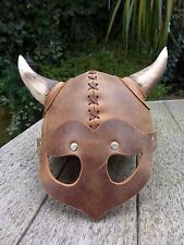 Viking Leather Helmet With Wooden Horn Medieval Handmade Fancy Dress Costume Hat
