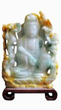 Chinese Natural Jade Stone Carved Ru Yi Kwan Yin Figure vs842