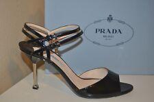 PRADA  Double Ankle Strap Sandal Metal Heel Shoe Black Patent Sz 40 / 10