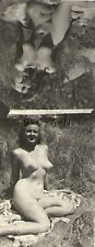 Org Vintage 1940s-50s Nude RP- Detroit- Endowed Woman Outdoors- 2 Photos on One