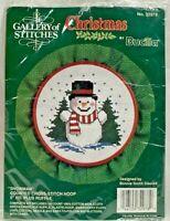 "1990s Vntg NIP Bucilla Counted Cross Stitch Christmas Kit Snowman 5"" Hoop 8381"