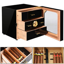 ☆Black Gloss Piano Finish Cedar Cigar Cabinet Humidor 3 Drawers For COHIBA Cigar