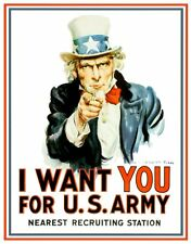 Uncle Sam I Want You US Army Recruiting Metal Tin Sign Made in the USA