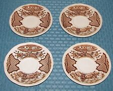 """(4) Alfred Meakin England Fair Winds Brown 5 1/2"""" Saucers - Very Good Condition"""