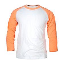 Damen Raglanärmel Neon Farben Baseball Top T-shirt Rundhals Oberteil Pink Neu