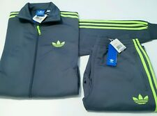 RARE adidas Originals Men's FIREBIRD TRACK JACKET & TRACK PANTS  GRAY  1AVL  MED
