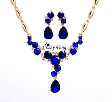 Free shipping New Women's 18k Gold Plated CZ Crystal Flower Wedding Jewelry Sets