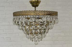 Antique Vintage Brass & Crystals Low Ceiling Chandelier Lighting Lamp Light