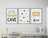 Set of 3 Little Man Cave Banner Yellow & Black Prints Nursery Boys Room Wall Art