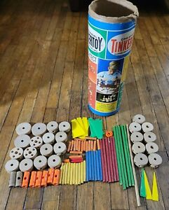 Vintage 1970s TINKERTOYS  All Wooden w Plastic Connectors