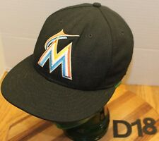 NEW ERA 59FIFTY MIAMI MARLINS HAT BLACK FITTED SIZE 6 7/8 USA MADE VGC D18