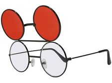 Red Dwayne Wayne Glasses Round Flip Up Sunglasses Black Frame 90's