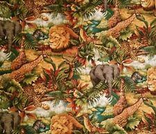 Leopard Lion Jungle Giraffe Elephant Print Fabric Cotton Animal Print 1 Yard